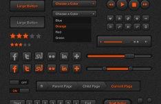High Quality Dark and Orange Web UI Kit PSD