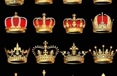 Set Of Elegant Imperial Crown Designs Vector 01