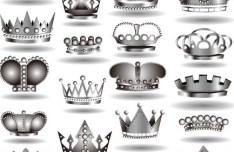 Set Of Elegant Imperial Crown Designs Vector 02