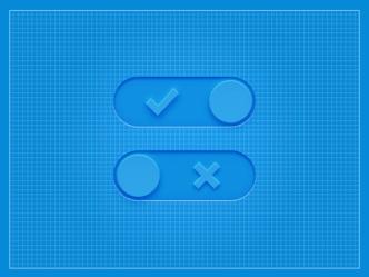 Blue 3D Switch Buttons PSD
