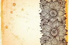 Vintage Hand Drawn Floral Frame Vector Illustration 03