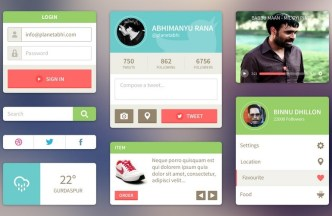 Clean and Fashion GUI Kit PSD