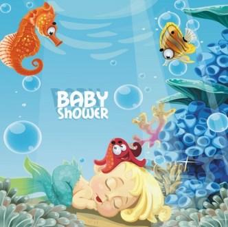 Cute Cartoon Marine Background Vector 03