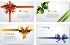 Vector Elegant Greeting Card with Bows Design Materials 02