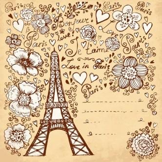 Set of Hand Drawn Romance in Paris Elements Vector 01