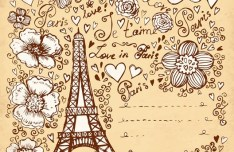 Set of Hand Drawn Romance in Paris Elements Vector 01