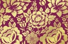 Vintage Golden Vector Flowers