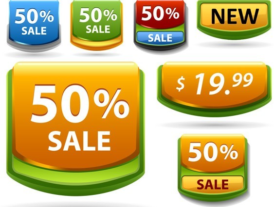Colored Sale and Discount Labels Vector