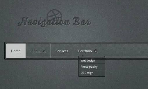 Dark Navigation Bar Design PSD
