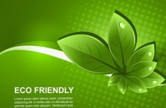 ECO Friendly Concept Vector Green Leaves Background 01