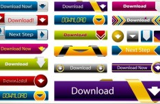 Colorful Vector Web Download Buttons Set