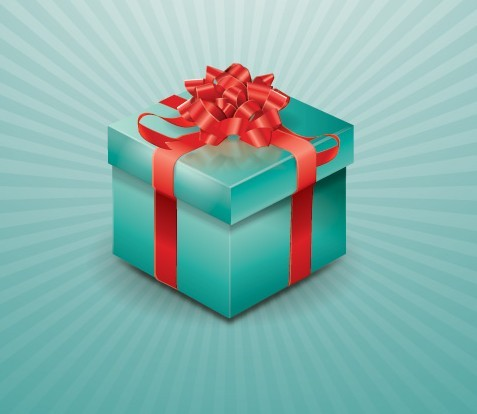 3D Blue Gift Box with Red Ribbons Vector