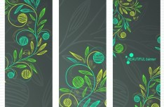 Beautiful Vector Banners with Floral Backgrounds 01