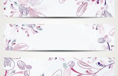 Beautiful Vector Banners with Floral Backgrounds 05