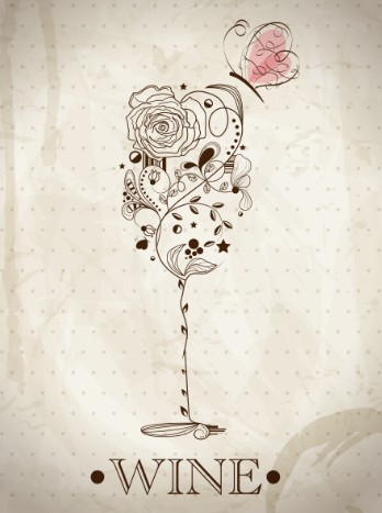 Free Vintage Hand Drawn Wine Glass With Butterfly TitanUI