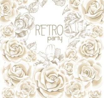 Retro Flowers Vector Illustration 01
