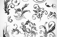Set Of Black Patterns Design Vector Illustration 02