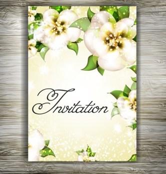 Beautiful Floral Wedding Invitation Card Design Vector 04