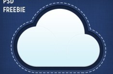 Denim Looking Cloud Icon PSD