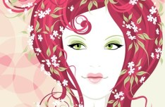 Fashion Floral Hairstyle Vector Girl 01