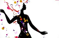 Vector Girl Silhouette with Colorful Floral Head 02
