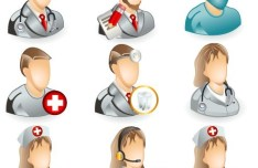 3D Medical Personnel Icons Vector