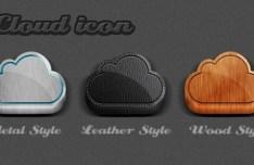 3D iCloud Icons PSD