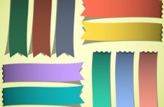 Set of Colored Vector Ribbons 04