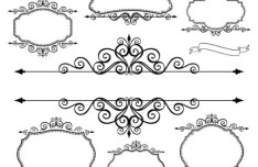 Simple Black Floral Borders and Frames Vector 02