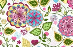 Elegant Hand Drawn Flowers Pattern Vector 04