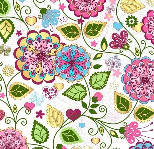 Elegant Hand Drawn Flowers Pattern Vector 04