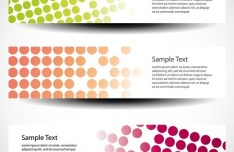 Set of Colorful Polka Dots Vector Banners 03