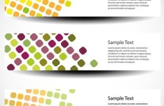 Set of Colorful Polka Dots Vector Banners 04