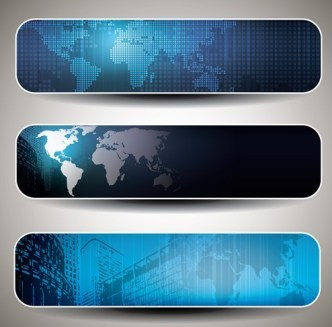 Set of Vector Blue Abstract Business Banners 03