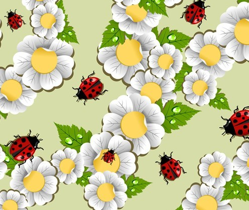 Happy Spring Green Leaves and Flowers Vector 05