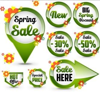 Set of Green Spring Sale Labels 04