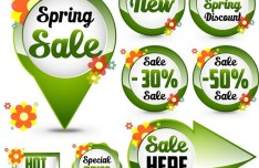 Set of Green Spring Sale Labels 04