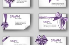 Set of Simple Vector Card Templates with Bows and Ribbons 03