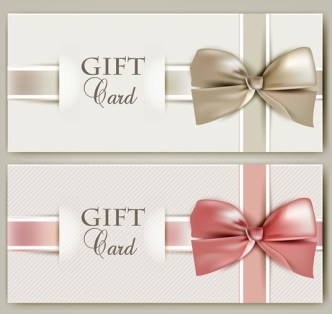 Vector Elegant Gift Card with Bow Design Template 04