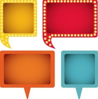 Colored Speech Bubble Labels Vector 01
