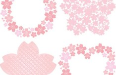 Cute Pink Flower Borders Vector 01