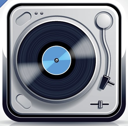 Glossy Record Player Vector App Icon