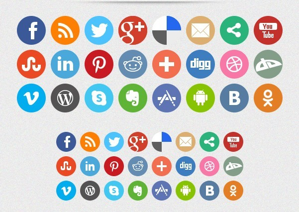 Simple Round Social Icons Pack