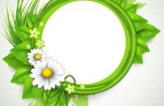 Spring Concept Green Floral Vector Frame 01
