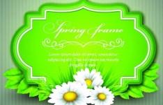 Spring Concept Green Floral Vector Frame 03