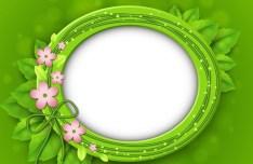 Spring Concept Green Floral Vector Frame 04