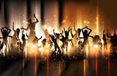 Vector Dancing People Shining Background 01