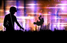 Vector Dancing People Shining Background 02