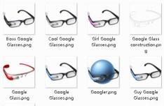 Colored Google Glass Icon Set