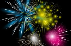 Colorful Fireworks Vector Background 05